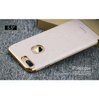 Luxy gelový obal se zlatým lemem na mobil iPhone 7 Plus - champagne