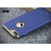Luxy gelový obal se zlatým lemem na mobil iPhone 7 Plus - modrý