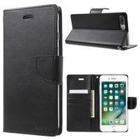 DiaryBravo PU kožené pouzdro na mobil iPhone 7 Plus a iPhone 8 Plus - černé