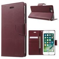 DiaryBravo PU kožené pouzdro na mobil iPhone 7 Plus a iPhone 8 Plus - vínové