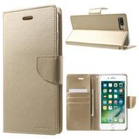 DiaryBravo PU kožené pouzdro na mobil iPhone 7 Plus a iPhone 8 Plus - zlaté