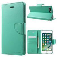 DiaryBravo PU kožené pouzdro na mobil iPhone 7 Plus a iPhone 8 Plus - azurové