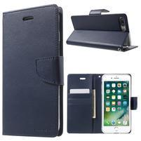 DiaryBravo PU kožené pouzdro na mobil iPhone 7 Plus a iPhone 8 Plus - tmavěmodré