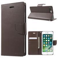 DiaryBravo PU kožené pouzdro na mobil iPhone 7 Plus a iPhone 8 Plus - tmavěhnědé