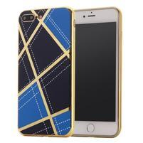 GeometricStyle obal se zlatými lemy na iPhone 7 Plus a iPhone 8 Plus - modrý
