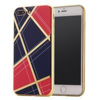 GeometricStyle obal se zlatými lemy na iPhone 7 Plus a iPhone 8 Plus - tmavěmodrý/červený