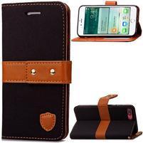 TexaCloth PU kožené/textilní pouzdro na iPhone 7 Plus a iPhone 8 Plus - černé