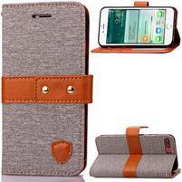 TexaCloth PU kožené/textilní pouzdro na iPhone 7 Plus a iPhone 8 Plus - šedé