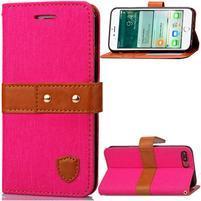 TexaCloth PU kožené/textilní pouzdro na iPhone 7 Plus a iPhone 8 Plus - rose