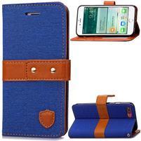 TexaCloth PU kožené/textilní pouzdro na iPhone 7 Plus a iPhone 8 Plus - modré
