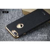 Luxy gelový obal se zlatým lemem na mobil iPhone 7 Plus - černý