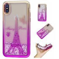 Candy přesýpací gelový obal na iPhone X - Eiffelova věž