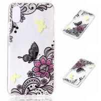 Bossi gelový obal na mobil iPhone X - motýl a květina