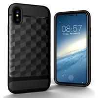 Hybridný odolný obal na mobil iPhone X - čierny