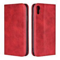 Wall PU kožené peněženkové pouzdro na mobil iPhone XR - červené