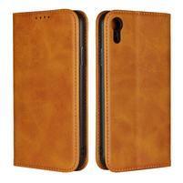 Wall PU kožené peněženkové pouzdro na mobil iPhone XR - světle hnědé