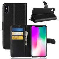 Litchi PU kožené peněženkové pouzdro pro iPhone XR - černé