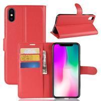 Litchi PU kožené peněženkové pouzdro pro iPhone XR - červené