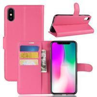 Litchi PU kožené peněženkové pouzdro pro iPhone XR - rose