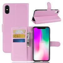Litchi PU kožené peněženkové pouzdro pro iPhone XR - růžové