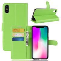 Litchi PU kožené peněženkové pouzdro pro iPhone XR - zelené