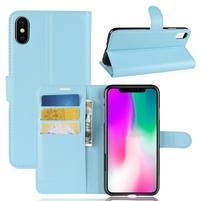 Litchi PU kožené peněženkové pouzdro pro iPhone XR - modré