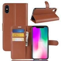 Litchi PU kožené peněženkové pouzdro pro iPhone XR - hnědé
