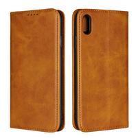 Wally PU kožené peněženkové pouzdro pro iPhone XS Max - světlehnědé
