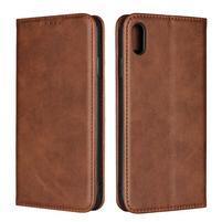 Wally PU kožené peněženkové pouzdro pro iPhone XS Max - hnědé