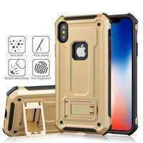 Kick hybridní odolný obal na mobil iPhone XS Max - zlatý