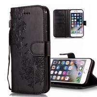 Print PU kožené peněženkové pouzdro na iPhone XS Max - černé