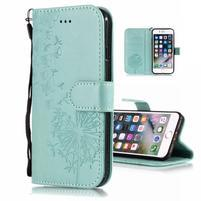 Print PU kožené peněženkové pouzdro na iPhone XS Max - cyan