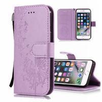 Print PU kožené peněženkové pouzdro na iPhone XS Max - fialové