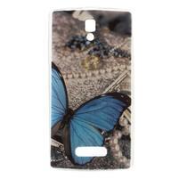 Emboss gelový obal s motivem na Lenovo A2010 - modrý motýl