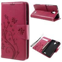 Butterfly PU kožené peněženkové pouzdro na Lenovo A536 - rose