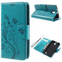 Butterfly PU kožené peněženkové pouzdro na Lenovo A536 - modré