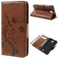 Butterfly PU kožené peněženkové pouzdro na Lenovo A536 - coffee
