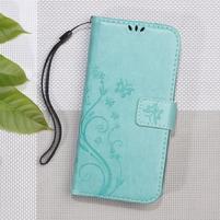 Butterfly PU kožené peněženkové pouzdro na Lenovo A6000 a A6010 - cyan