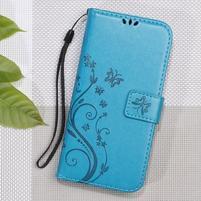 Butterfly PU kožené peněženkové pouzdro na Lenovo A6000 a A6010 - modré