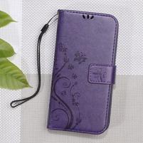 Butterfly PU kožené peněženkové pouzdro na Lenovo A6000 a A6010 - fialové
