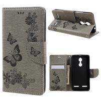 Butterfly knížkové pouzdro na mobil Lenovo K6 - šedé
