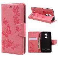 Butterfly knížkové pouzdro na mobil Lenovo K6 - růžové
