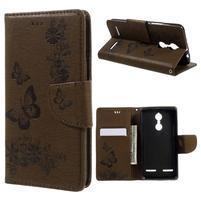 Butterfly knížkové pouzdro na mobil Lenovo K6 - hnědé