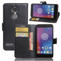 Texture knížkové pouzdro na mobil Lenovo K6 - černé
