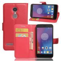 Texture knížkové pouzdro na mobil Lenovo K6 - červené