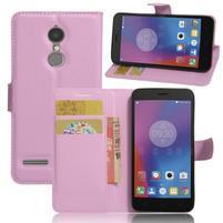 Texture knížkové pouzdro na mobil Lenovo K6 - růžové