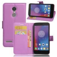 Texture knížkové pouzdro na mobil Lenovo K6 - fialové