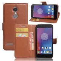 Texture knížkové pouzdro na mobil Lenovo K6 - hnědé