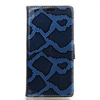 Snake PU kožené pouzdro na Lenovo K6 Note - modré