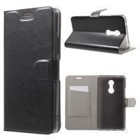 Horse PU kožené pouzdro na mobil Lenovo K6 Note - černé